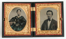 AMBROTYPE DOUBLE IMAGE,WOMAN, MAN.TINTED,AMBER GLASS. 1/9 PLATE,ANGEL UNION CASE