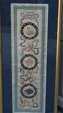 ANTIQUE CHINESE FORBIDDEN STITCHES SILK EMBROIDERY OF 3 MEDALLIONS W/BATSFRAMED