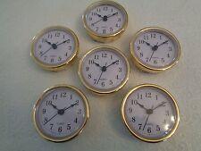 "6 PAK, 2-1/2""(65mm) QUARTZ CLOCK FIT-UP/Insert, Gold Trim, Arabic Numeral,White"