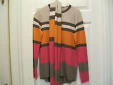 NEW Cullen Striped 100% Cashmere Crew Neck Sweater & Scarf