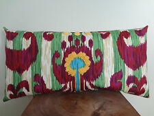 Decorative Pillow Cover Ikat Pattern Red Green Beige Blue with Yellow Embroidery