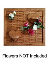 New Solid Oak Wood Weaving Board with Heart Shelves & Pegs - Wall Hanging