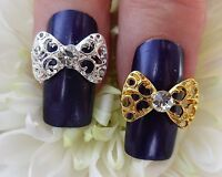 *BLING* 3D Alloy Metal Nail Art Decoration Silver & Gold Diamante Rhinestone Bow