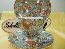 """Shelley GREEN PAISLEY CHINTZ  * RIPON *  CUP,  SAUCER AND 8"""" PLATE - GOLD TRIM"""