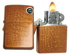 Zippo 29246 Crocodile Pattern Toffee Iced Matte Finish Engraved Classic Lighter