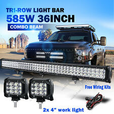"36"" 585W + 2x 45W CREE LED WORK LIGHT BAR Tri-Row for JEEP Ford SUV 4WD 42"" 50"""