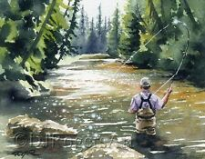 """Fly Fishing """"HOOKED UP II"""" Watercolor 8 x 10 ART Print Signed by Artist DJR"""