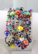 12 Strand Multi Color Czech Glass Bracelet Magnetic Clasp Fashion Jewelry NEW