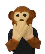 Monkey Mask Latex Animal Halloween Costume Funny Emoji Hear See Speak No Evil