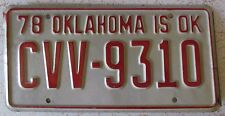 Oklahoma 1978 CLEVELAND COUNTY License Plate HIGH QUALITY # CVV-9310