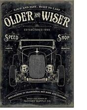 Older wiser hotrod speed shop usa vintage design aimant hot rod