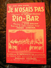 Partition Je n'osais pas Armand Tournel Rio Bar Primo Corchia 1958