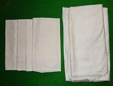6 teilige weiße Bettwäsche Baumwolle Damast alt 1930/40 4 Kopfkissen 2 Bezüge