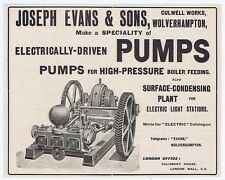 Joseph Evans & Sons, Wolverhampton; Electric Pumps - Old Engineering Advert 1904