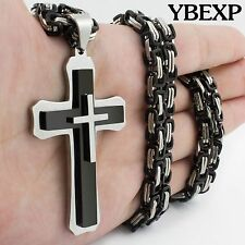 24''28''Men Stainless Steel Jesus Cross Pendant Gold Silver Black Chain Necklace