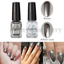 2 Bottles/Set Chrome Nail Polish Silver Magic Mirror Effect Laquer Varnish Shiny