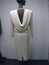 VTG WOMENS ST JOHN IVORY WOOL SKIRT SUIT w SILKY SWAG OPEN BACK SZ 4 NWT! NEW!