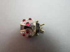 NWT Joan Rivers Lady Bug Brooch Pin Red Cabochones Black Enamel Crystals NICE!