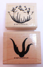 Stampin Up 1997 Flower Bloom 2 Part Stamp  Wooden Rubber Stamp