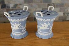 Elegant Pair of Wedgwood Pale Blue Jasper Ware Two Handled Centaurus Floral Vase
