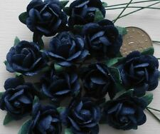 100! Lovely Mulberry Paper Roses - 15mm - Deep Navy Blue Rose Embellishments!