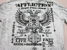 AFFLICTION MENS EMBELLISHED GRAY HENLEY L/S GRAPHIC T SHIRT SIZE 2XL XXL NEW