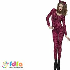 PINK LEOPARD PRINT CATSUIT BODYSTOCKING ladies womens fancy dress costume