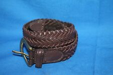 Men's LEATHER Brown Hand Laced Braided Belt Size 42 ~ New
