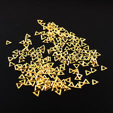 100Pcs Gold Hollow Nail Art Stickers Tips Rhinestones Decoration Triangle DIY