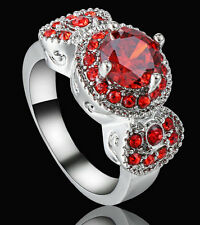 Hot Lady/Women's Silver 14KT White Gold Filled Ruby Wedding Ring Gift size 6