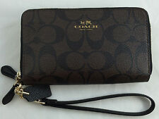 New Authentic Coach F53937 Signature Double Zip Phone Wallet/Wristlet Brown/BLK