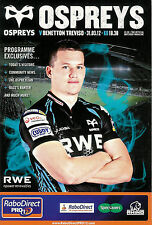 Ospreys v Benetton Treviso Pro12 League 31 Mar 2012 Liberty RUGBY PROGRAMME