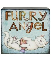 Blossom Bucket-FURRY ANGEL Wood Cat Wall Box Sign ** So Cute**