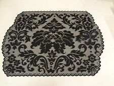 Heritage lace table runner mat doily black Damask pattern 14 x 20 Halloween BL2