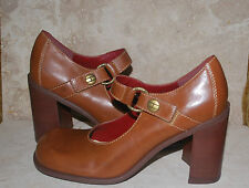 Tommy Hilfiger Mary Janes Retro Toe Brown Womans Heels size 9M Ships Free