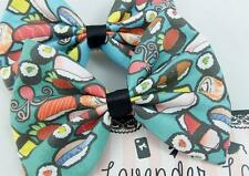 Teal Sushi Mediium Hair Bow  Handmade Kawaii Food Hair Clip