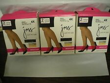 Just My Size Pantyhose 88835 Off Black 4x Reinforced Toe Regular 6 Pairs
