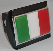 Italy Italian Flag Colored Emblem On Black Chrome Metal Hitch Cover Truck Tow