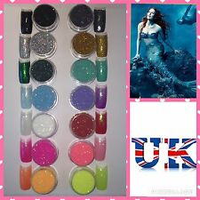 14PCS SET! MERMAID EFFECT NAILS COLOURS ART POWDER GEL HYBRID ACRYLIC GLITTER