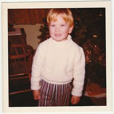 Square Vintage 70s PHOTO Little Toddler Boy In Striped Pants