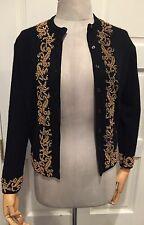 Vintage Gold Beaded Floral Black Cardigan Sweater Circa 50s/60s Cashmere Lined