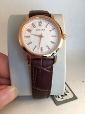 Bulova Women's 97L121 Rose Gold Brown Leather Strap Watch-HG