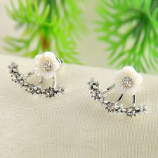 Fashion Women Crystal Rhinestone Ear Stud Daisy Flower Earrings Jewelry - White