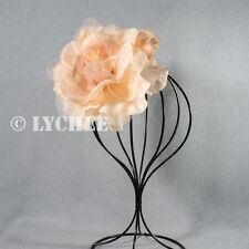 Pink Peach Silk Flower Bloom Spring Racing Carnival Fascinator HairClip Brooch