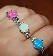 fire opal cz ring gems silver jewelry Sz 6 7 8 8.25 engagement wedding band