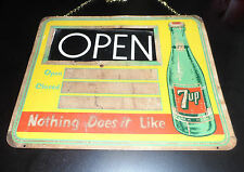 """Rare 7-Up Grocery Store Soda Fountain Open/Close Metal Sign 18""""Wide x 13"""" Tall"""