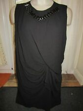 River Island Dress Size 10 BNWT £45 Black Necklace Drape Style 12-14 Loose Shift