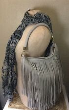 H&M BAG FRINGED VEGAN LIGHT GRAY CROSSBODY HOBO SHOULDER PEBBLED FAUX LEATHER