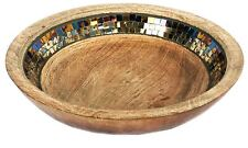 Rustic Antique Mango Wood Mirrored Mosaic Decorative Bowl 30cm
