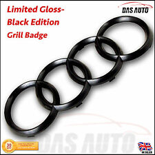 GLOSS BLACK GRILLE BADGE RINGS AUDI EMBLEM a1 a3 a4 a5 a6 7 s3 quattro sline ggf